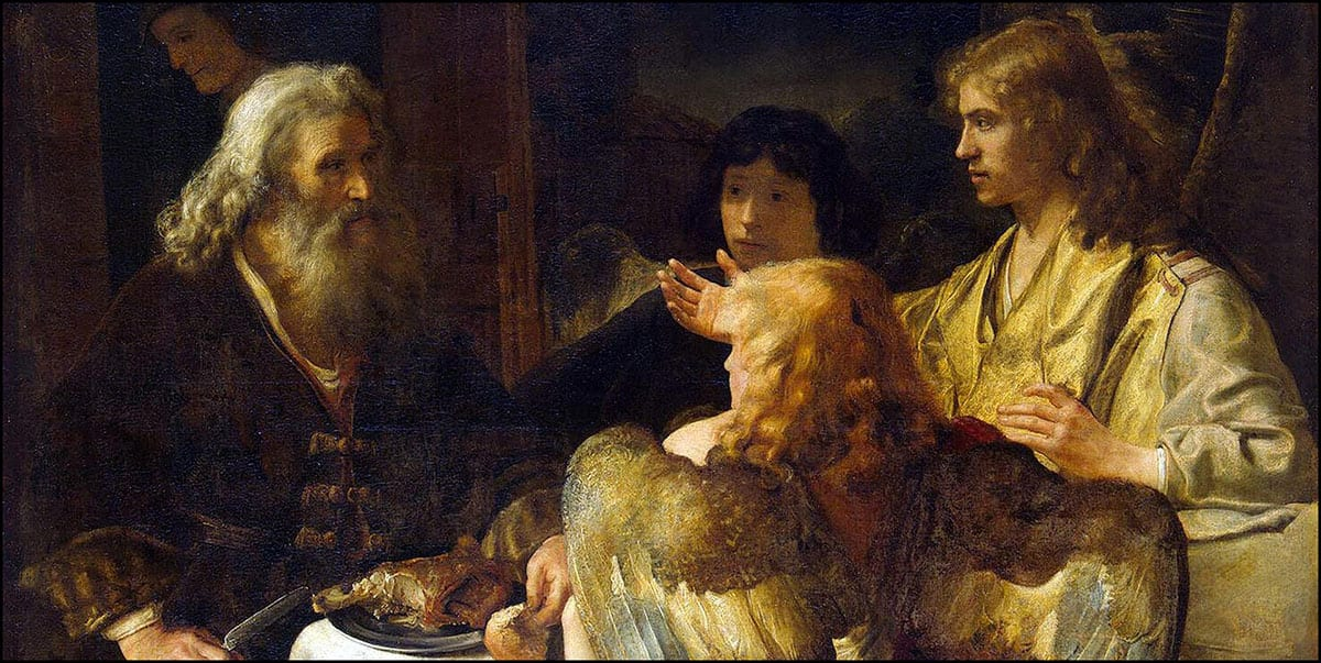An image of Rembrandt's painting- Abraham and the Three Angels