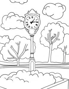 Image of Providence College clock coloring page