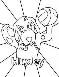 Image of Huxley holding a basketball coloring page