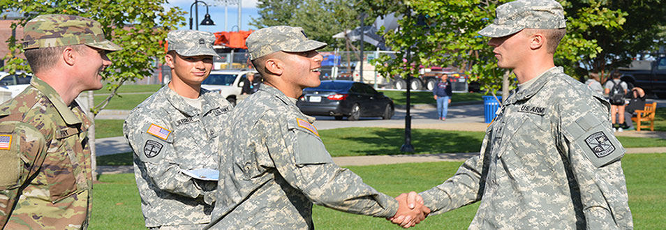 ROTC students shaking hands