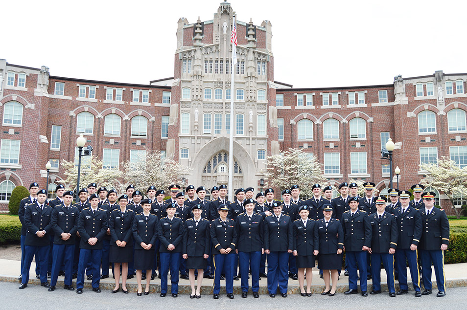 ROTC 2018 Commencement Group Photo in front of Harkins Hall