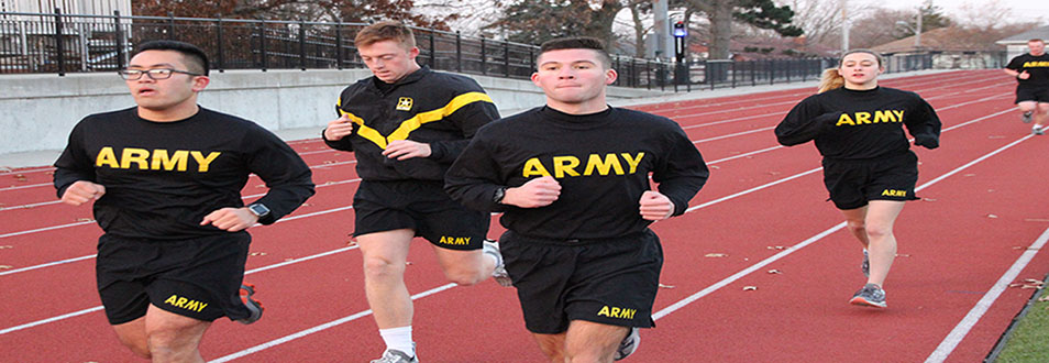 ROTC students running on a track