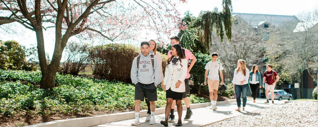 Students Walking on Campus Spring