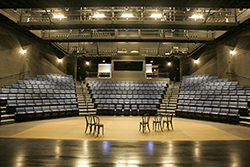 Angell Blackfriars Theatre The main stage theatre of the Smith Center for the Arts set up for a lecture.