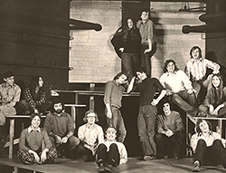 The Birds by Aristophanes 1973. Harkins Hall Theatre (Spring 1973) The first ever crew of Providence College theatre majors collaborate on a performance in the Harkins Theatre.