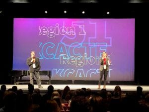 KCACTF Co-Chairs welcoming students to the Region 1 Festival