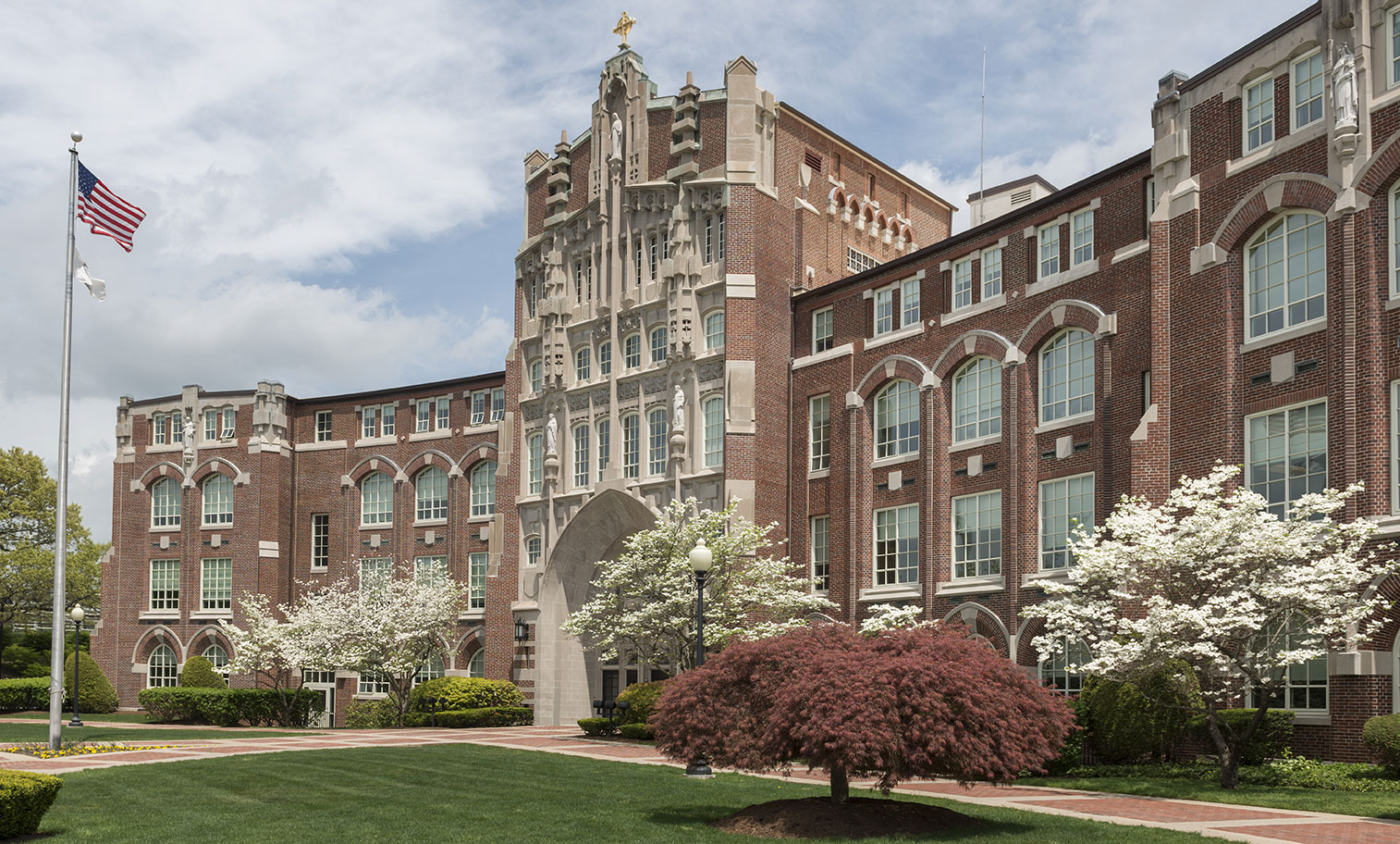 Photo of the exterior of Harkins Hall, main administrative building at Providence College