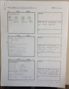 """Picture of Storyboard for the Screencast """"How to Create a Collection"""""""