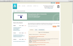 Screen shot of Penn State's partner page on Archive-It