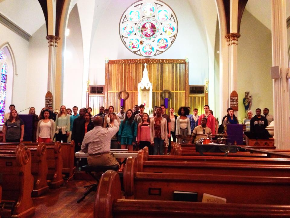 Rehearsing before a performance in Charleston, SC