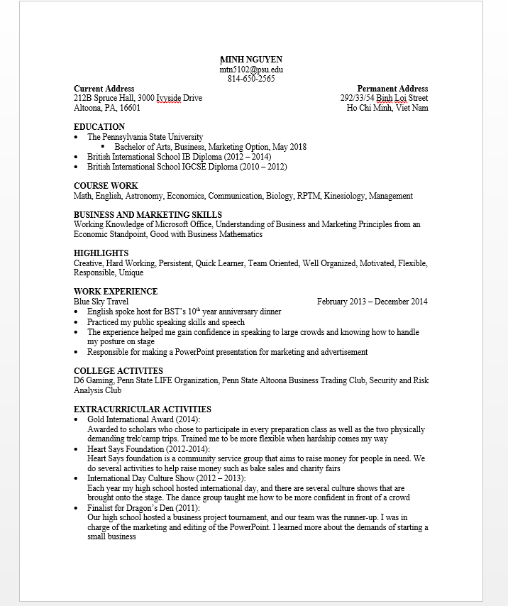 Penn State Resume Image Collections Resume Format Examples 2018