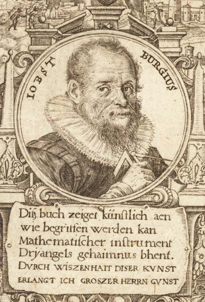 Jost Bürgi (28.2.1552 -31.1.1632) Astronom, Mathematiker, Instrumentenbauer, Entdecker der Logarithmen. aus:7523 (Rar);Frontispiz