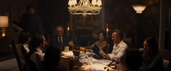 """The six American diplomats look over their """"scripts"""" - part of the materials that establish their cover as filmmakers.  Still from DVD of Argo, directed by Ben Affleck, produced by Warner Brothers."""