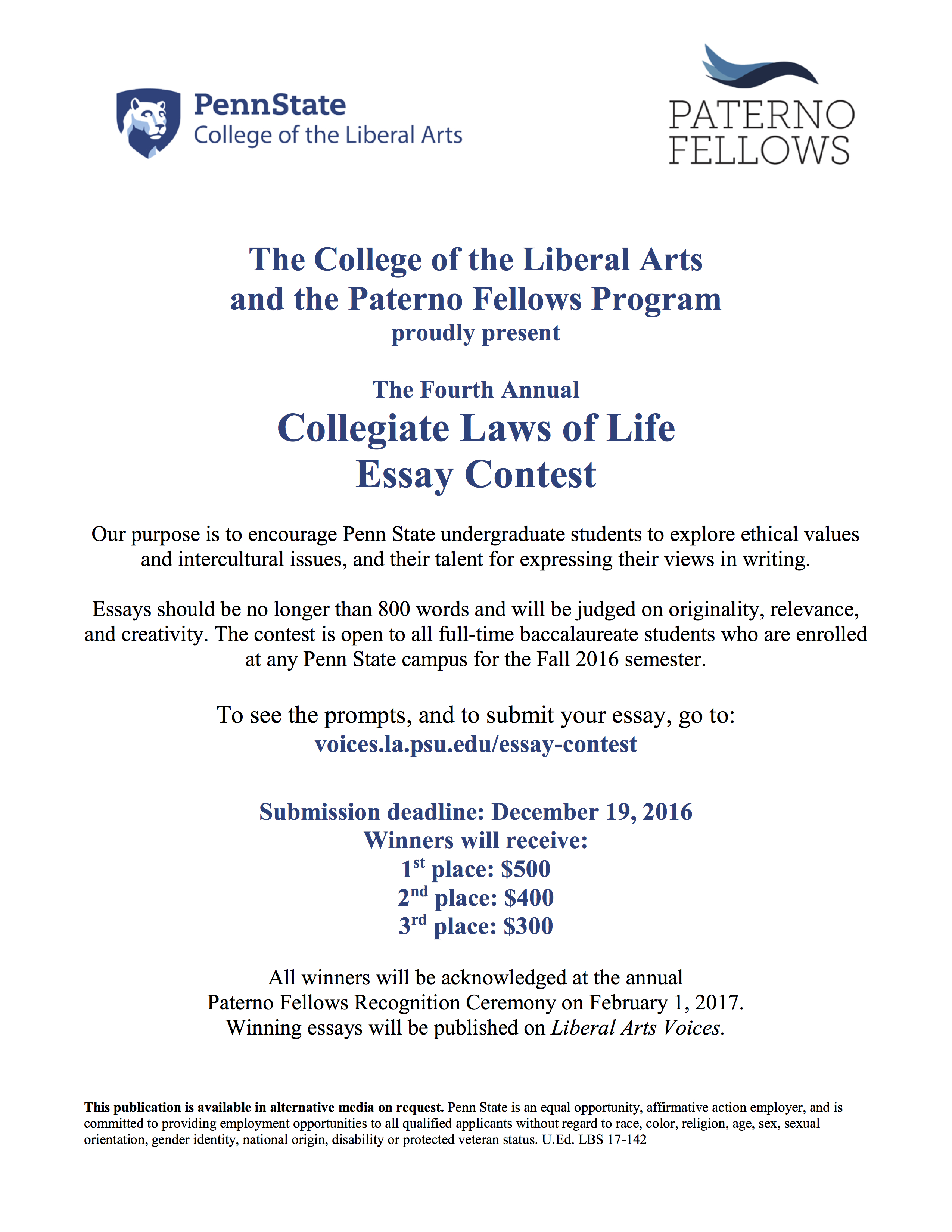 Paterno Fellows Collegiate Laws Of Life Essay Contest Collegiatelawsoflifeessaycontest