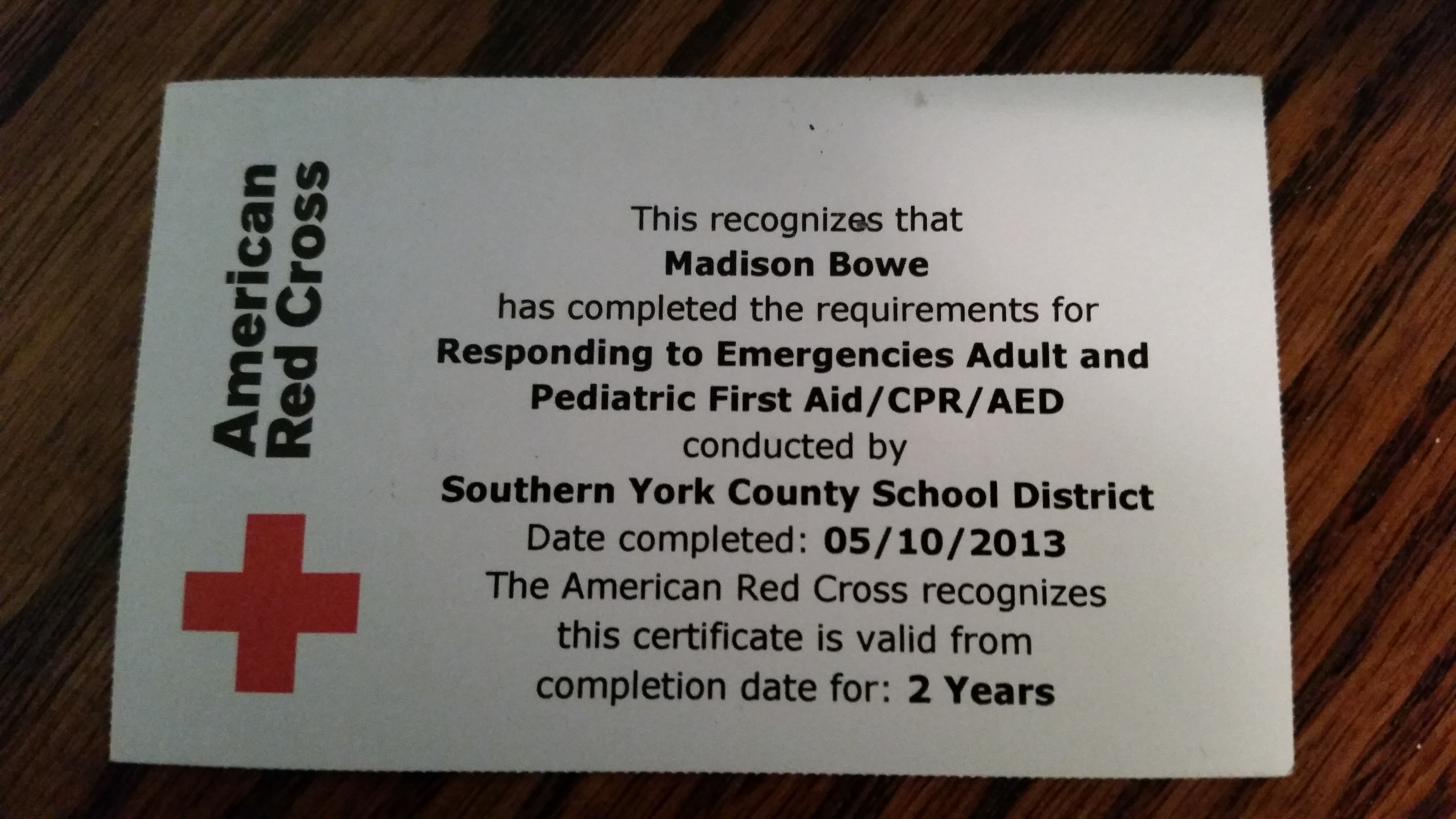 American red cross portfolio first aid and cpr certification card from the american red cross to madison bowe 1betcityfo Image collections