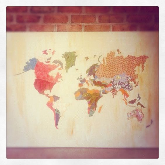 I could make that fabric canvas wall map the inspiration a variety of world map collages found on the internet primarily this one gumiabroncs Image collections