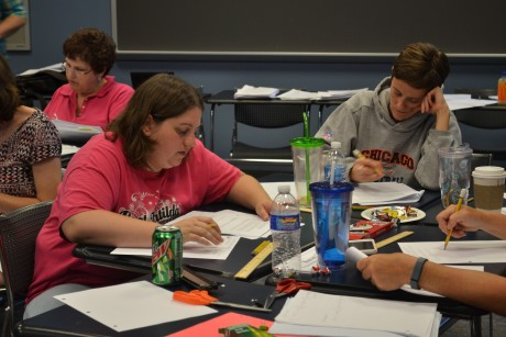 Participants work hard to solve problems.