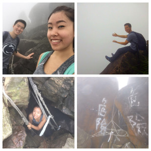 "While the fog covered the scenic views, we still enjoyed the thrills of our spontaneous trip (the bottom right picture says ""danger"")"