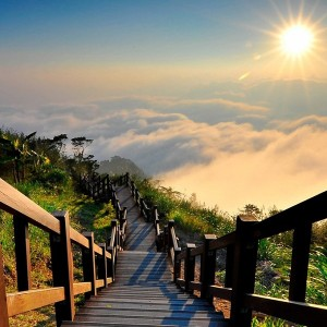 Striking view from a trail on Yu Shan, Taiwan's highest mountain.