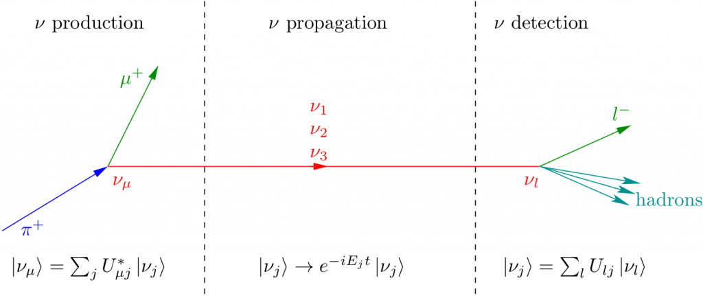 Neutrino propagation in vacuum and interaction