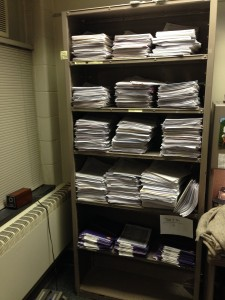 These documents are waiting to be checked to see if high school course requirements were met.