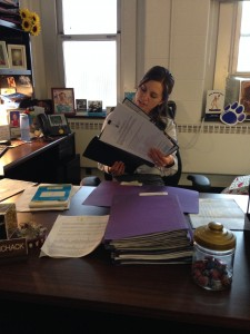 Here is international admissions counselor Audrey reviewing applicants for 2014!