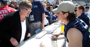 Penn State quaterback Christian Hackenberg signs autographs at the 2014 Blue-White Game