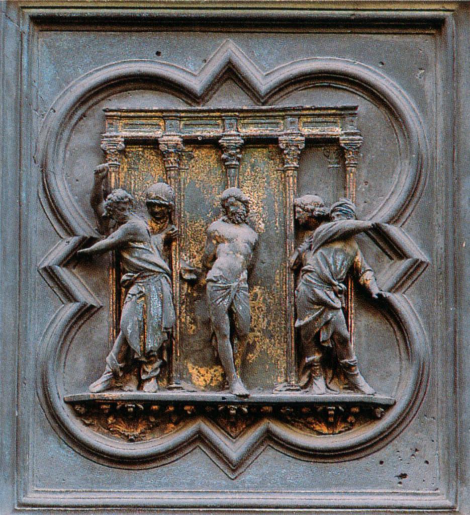 Ghiberti scene from Florence baptistry doors, flagellation