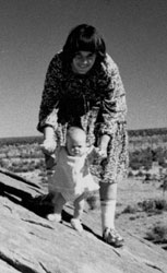 Photograph of Azaria Chamberlain with her mother before she was tragically taken from the family campsite by a dingo in 1980.