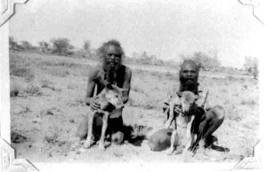 """Left: Two Aboriginal men with dingoes, Northern Territory Administration Report Lake Mackay Expedition, June/July 1957. (""""Two"""", 1957). Right: Dingo speared for food at Burrup Peninsula rock art [Photo provided by Robin Chapple, MLA [Western Australia]. Murujuga is a peninsula often known as Burrup Peninsula in the Pilbara region of Western Australia, adjoining the Dampier Archipelago and near the town of Dampier. (Chapple, 2013)."""