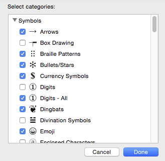 Symbol blocks options include Arrows, Braille, Currency, Emoji