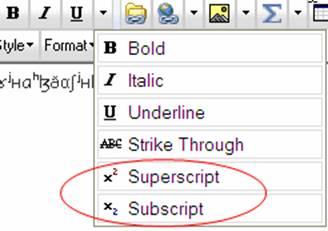 Superscript and Subscript menu options