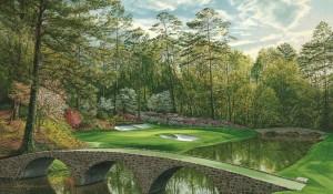 17th hole at Augusta National Golf Course. http://www.golfcourseartwork.com/12th-hole-augusta-national-golf-print-golden-bell-bridges-print