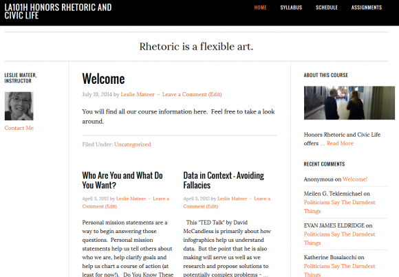 Course Website, Rhetoric and Civic Life