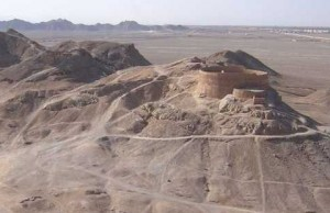 A Zoroastrian tower of silence where bodies of those who have passed on are left to decompose scavengers and exposure.