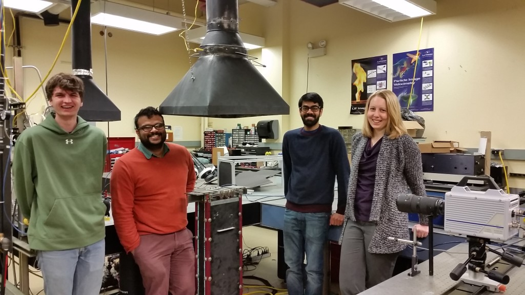 Flame interaction team wraps up the experiments at the CCPP. From left to right: Tristan (Trinity), Prabhakar Venkateswaran (Trinity), Ankit Tyagi (PSU), and Jacqueline O'Connor (PSU).