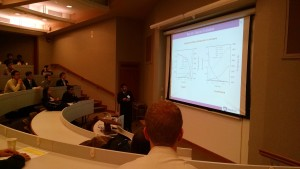 Graduate student Chowdhury Ashraf (van Duin) presents his work at the Eastern States Meeting.