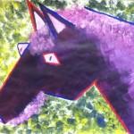 Purple Cubist horse
