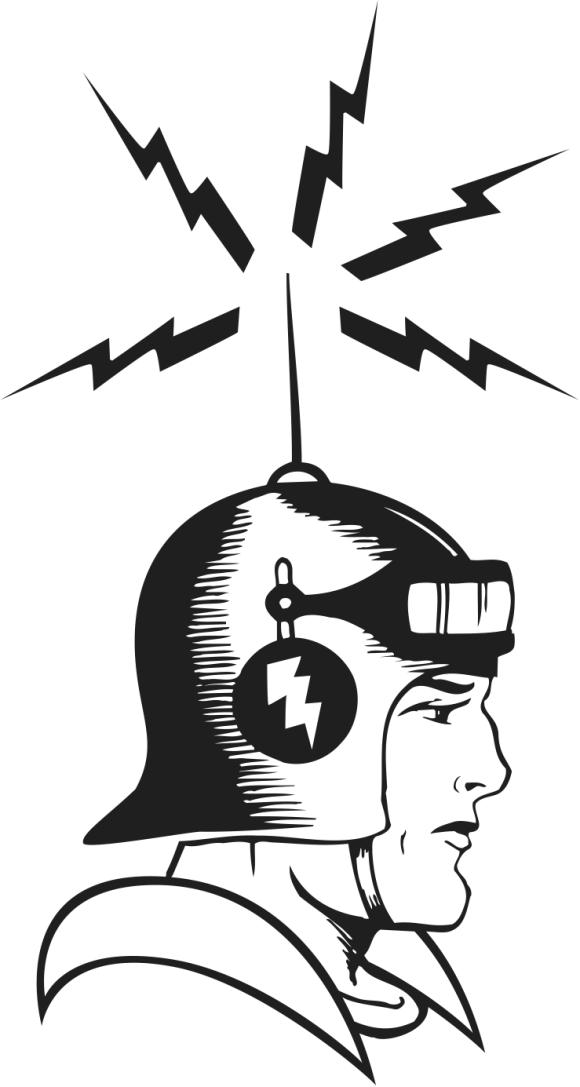 Retro Sci Fi Person with Antenna on Helmet