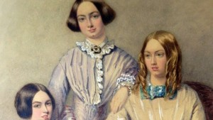 A watercolor portrait of the Bronte sisters, a trio of classic English literature authors.