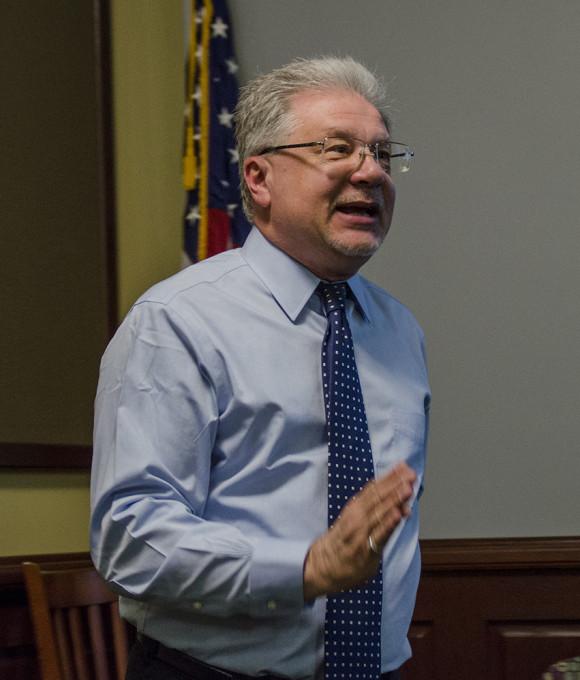 man, Seth Lerer, standing in front of room speaking
