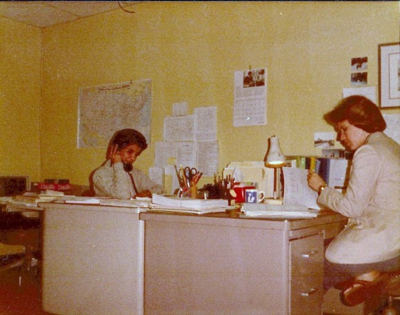 C Pic W308 Office Sue and Beck at desk June 1985