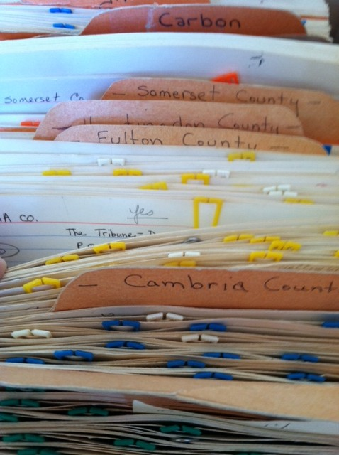 Close-up view of the Master Card File.