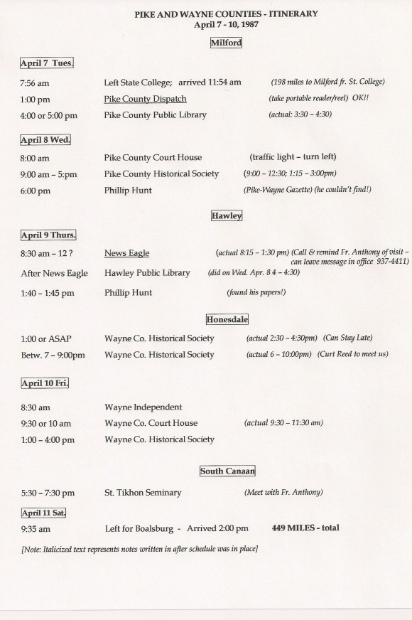 Pike Wayne Itinerary only