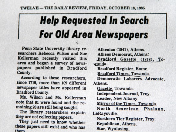 """The Daily Review published the Bradford County """"Needs"""" list in its October 18, 1985 issue."""