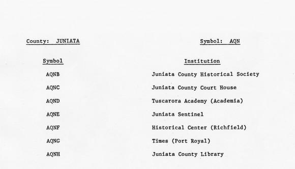 Juniata County OCLC Symbol List.