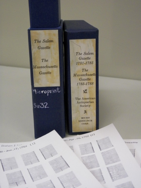 Microopaque cards and box from the Readex Collection of Early American Newspapers, 1704-1820.