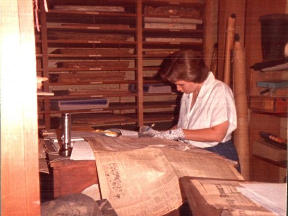H Pic Sue cataloging in the vault