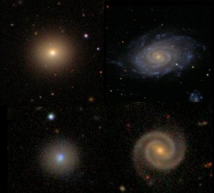 Top: Ellipticals are red, spirals are blue. Bottom: Except when they're not.  The Galaxy Zoo project identified anomalous galaxies, the blue ellipticals (left) and red spirals (right).