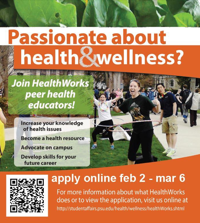 HealthWorks peer education program flyer